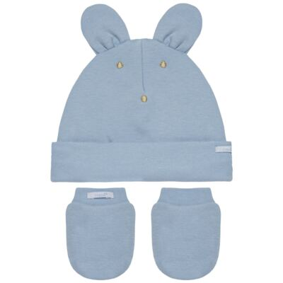 Imagem 1 do produto Kit Bichinho: Touca + Par de Luvas para bebê em suedine Azul - Roana