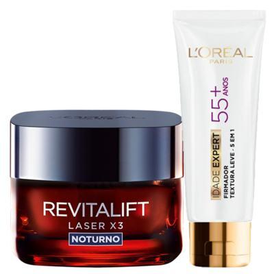 Kit L'Oréal Paris Revitalift Laser X3 + Idade Expert 55+ Noturno - Kit