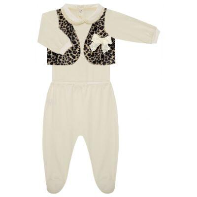 Imagem 2 do produto Conjunto para bebe Leopard Print: Colete + Body longo + Calça - Roana