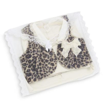 Imagem 8 do produto Conjunto para bebe Leopard Print: Colete + Body longo + Calça - Roana