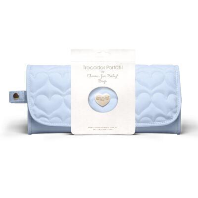 Trocador Portátil para bebe Corações Matelassê Azul - Classic for Baby Bags