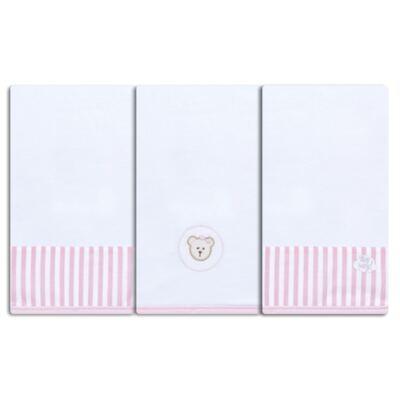 Imagem 1 do produto Kit com 3 fraldinhas de boca para bebe em malha Pink Teddy Bear - Hey Baby