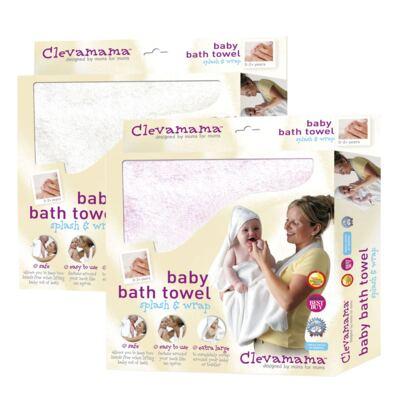 Imagem 1 do produto Kit: 2 Toalhas Mamãe Bebê com capuz Branca e Rosa - Clevamama