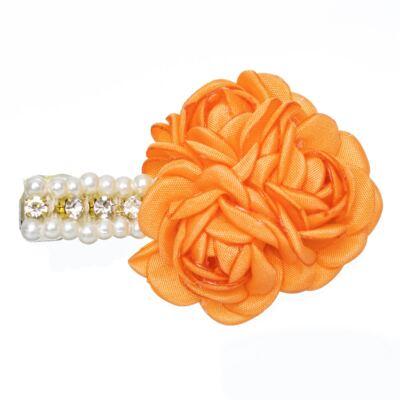 Imagem 1 do produto Presilha Mini Flores Pérolas & Strass Amarela - Roana