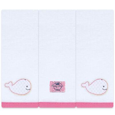 Kit com 3 fraldinhas de boca em malha Cute Whale - Classic for Baby
