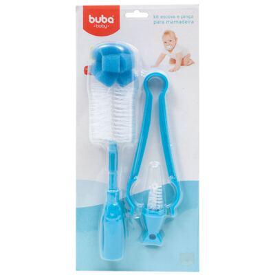 Kit: Escova e Pinça para mamadeira Azul - Buba