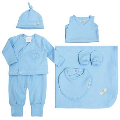 Jogo Maternidade Blue Teddy Bear 7 peças: Casaquinho + Body regata + Mijão + Touca + Luvas + Babador + Manta - Laura Ashley Baby