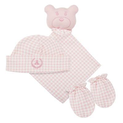 Imagem 1 do produto Kit: Naninha Ursinha + Touca + Par de Luvas para bebe em suedine Pied Poule Pink - Coquelicot