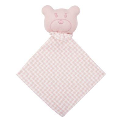 Imagem 2 do produto Kit: Naninha Ursinha + Touca + Par de Luvas para bebe em suedine Pied Poule Pink - Coquelicot