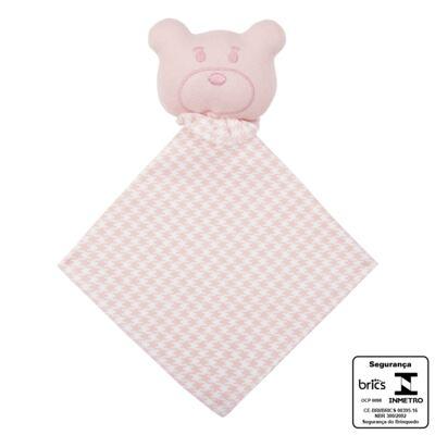 Imagem 3 do produto Kit: Naninha Ursinha + Touca + Par de Luvas para bebe em suedine Pied Poule Pink - Coquelicot