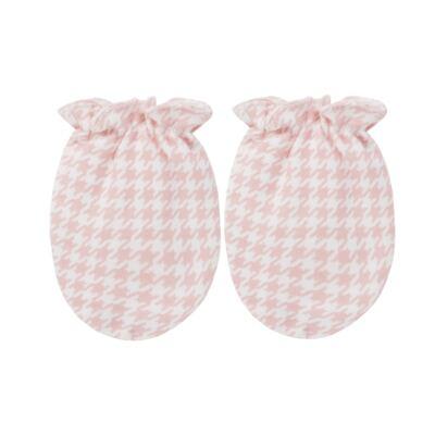 Imagem 5 do produto Kit: Naninha Ursinha + Touca + Par de Luvas para bebe em suedine Pied Poule Pink - Coquelicot