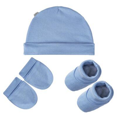 Kit c/ Touca, Luva e Sapatinho para bebe em malha Azul - Pingo Lelê