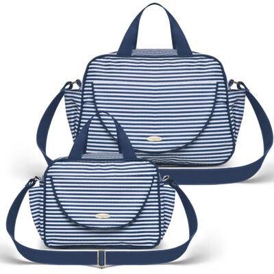 Bolsa + Frasqueira para Bebê Stripes Marinho - Classic for Baby Bags