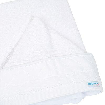 Imagem 1 do produto Toalha com capuz para bebe Cordão Branco - Biramar Baby