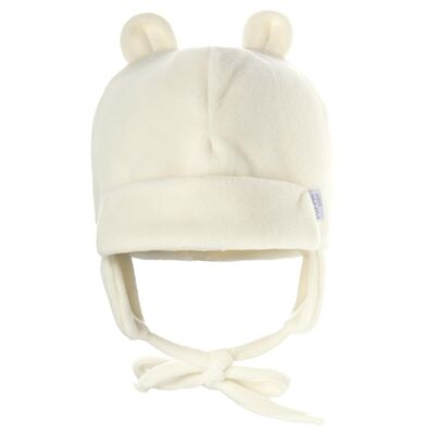 Gorro Orelhinha para bebe em microsoft Marfim - Piu-Piu