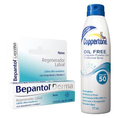 Bepantol Regenerador Labial Derma 7,5ml + Protetor Solar Coppertone Oil Free FPS 50 177ml