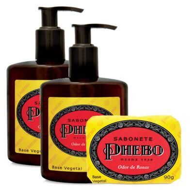Imagem 1 do produto Sabonete Líquido Phebo Odor de Rosas 250ml 2 Unidades + Sabonete Phebo Odor de Rosas 90g