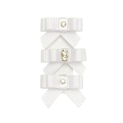 Imagem 1 do produto Kit: 3 Laços adesivos em gorgurão Branco - Roana
