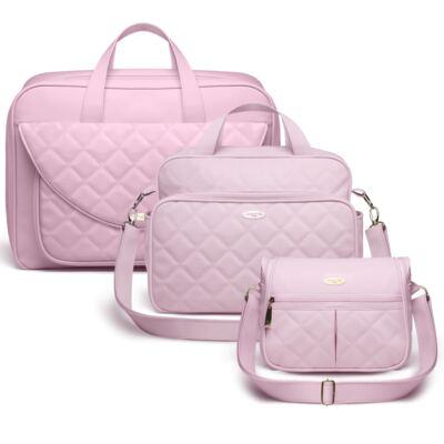 Imagem 1 do produto Kit Mala maternidade + Bolsa M + Frasqueira Miami Golden Clean Rosa - Classic for Baby Bags