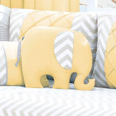 Almofada para bebe Elefantinho Brooklyn Amarela - Biramar Baby