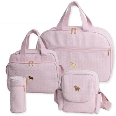 Mala maternidade para bebe + Bolsa maternidade + Frasqueira térmica + Porta Mamadeira Tressê Rosa - Majov