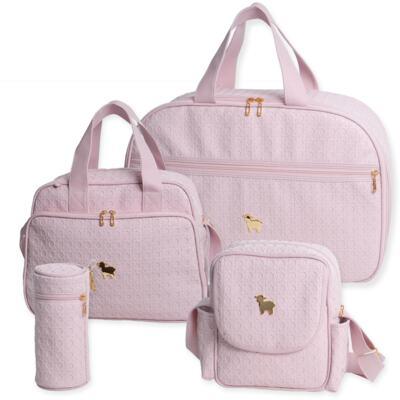 Imagem 1 do produto Mala maternidade para bebe + Bolsa maternidade + Frasqueira térmica + Porta Mamadeira Tressê Rosa - Majov