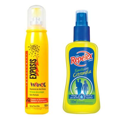 Repelente Exposis Spray Infantil 100ml + Repelente Spray Repelex Citronela 100ml