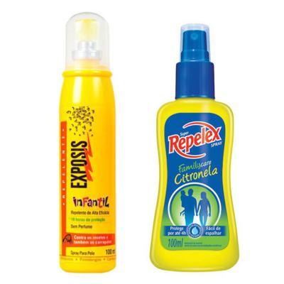 Repelente Exposis Spray Infantil 100ml + Repelente Spray Repelex Citronela 100ml