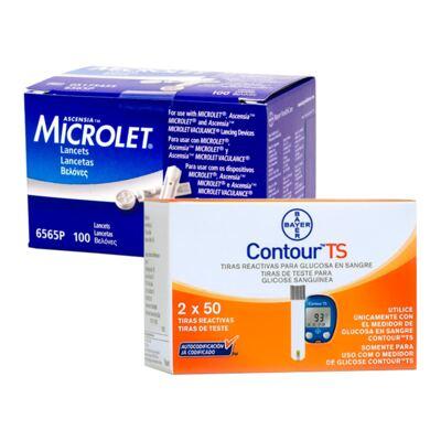 Kit Bayer Lancetas Microlet 100 Unidades + Contour TS 100 Tiras