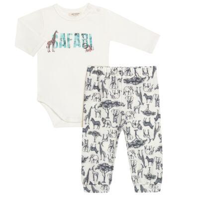Imagem 1 do produto Body longo c/ Calça (Mijão) para bebe em viscomfort Safari - Petit - 17064308 CJ BODY M/L MIJAO PE REV COTTON/VIS SAFARI-GG