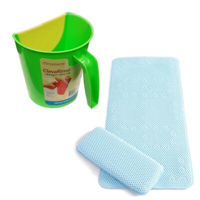Imagem 1 do produto Enxaguante de shampoo ClevaRinse Verde e Tapete antiderrapante para banho e suporte para joelhos ClevaBath - Clevamama