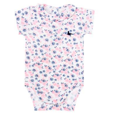Body curto para bebê em cotton Flourish - Mini Sailor - 01104440 BODY M/C C/BABADO NA GOLA COTTON FLORAL-3-6