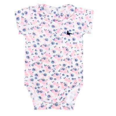 Imagem 1 do produto Body curto para bebê em cotton Flourish - Mini Sailor - 01104440 BODY M/C C/BABADO NA GOLA COTTON FLORAL-3-6