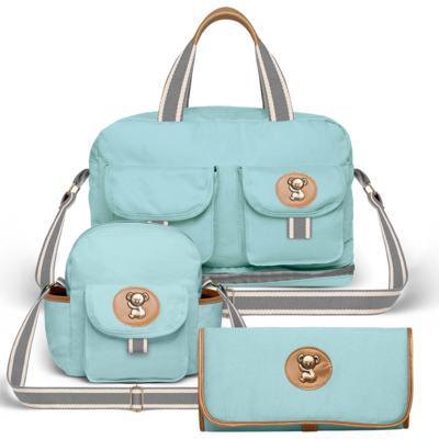 Bolsa Maternidade para bebe Ibiza + Frasqueira Térmica Toulon + Trocador Portátil em sarja Adventure Azul - Classic for Baby Bags