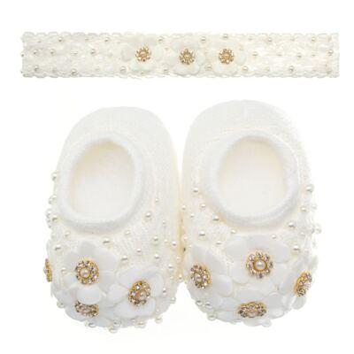 Imagem 1 do produto Sapatinho com Faixa para bebe em tricot Flores & Pérolas Marfim - Roana