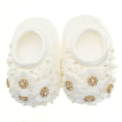 Imagem 2 do produto Sapatinho com Faixa para bebe em tricot Flores & Pérolas Marfim - Roana