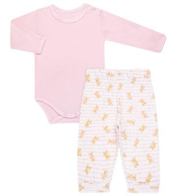 Body longo com Calça para bebe em algodão egípcio c/ jato de cerâmica e filtro solar fps 50 Pink Bear - Mini & Kids - URSINHAS-M