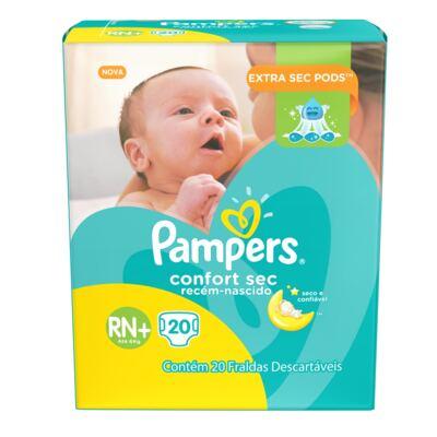 Imagem 1 do produto Fralda Pampers Confort Sec Tamanho RN - 20 unidades