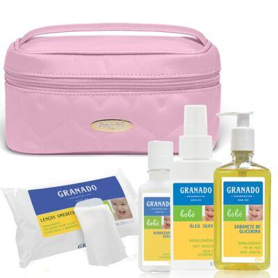 Necessaire Farmacinha Corações Matelassê Rosa + Kit Granado Bebê - Classic For Baby Bags & Granado