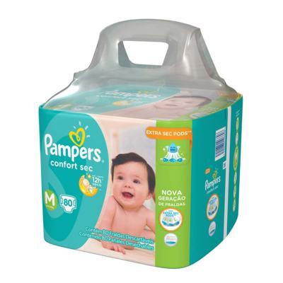Imagem 2 do produto Kit Pampers Fralda Descartável Confort Sec M 80 Unidades + Lenço Umedecido Fresh Clean 48 Unidades