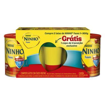 Kit Composto Lácteo Nestlé Ninho Fases 1+ 2 Latas 800g Grátis Copo de Transição Exclusivo