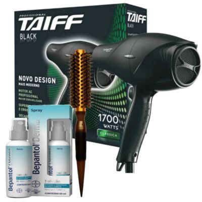 Kit Secador Taiff Black 1700W 110V + Escova Térmica de Cabelo Marco Boni + Bepantol Derma Spray