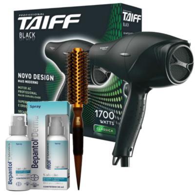 Imagem 1 do produto Kit Secador Taiff Black 1700W 110V + Escova Térmica de Cabelo Marco Boni + Bepantol Derma Spray