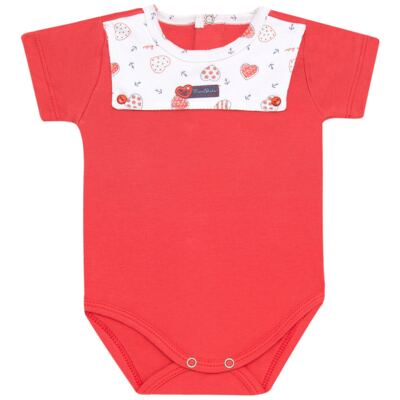 Body curto para bebe c/pala em Pima Cotton Supreme Sailor Girl - Mini & Kids - BCAF541 BODY MC COM ABER.FRONTAL SUEDINE-M