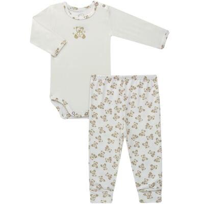 Body longo c/ Calça para bebe em suedine Ivory Bear - Dedeka - DDK16501/E100 Conjunto de Body Suedine Urso Bege -G