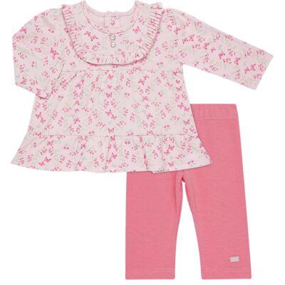 Imagem 1 do produto Bata com Legging para bebe em algodão egípcio c/ jato de cerâmica e filtro solar fps 50  Butterfly Garden - Mini & Kids - CJBG0001.84 CON.BATA M/L BABADOS C/LEGGING-SUEDINE-G