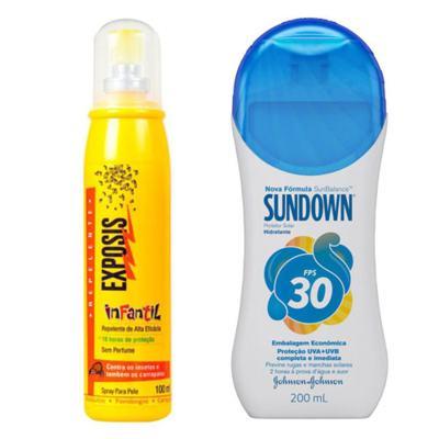 Repelente Exposis Spray Infantil 100ml + Protetor Solar Sundown FPS 30 350ml