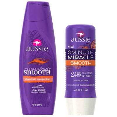 Kit Shampoo Aussie Smooth 400ml + Tratamento Capilar Aussie Smooth 3 Minutos Milagrosos 236ml