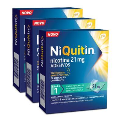 Kit Niquitin 21mg 21 Adesivos Transparentes