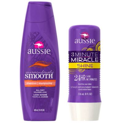 Kit Shampoo Aussie Smooth 400ml + Tratamento Capilar Aussie Shine 3 Minutos Milagrosos 236ml